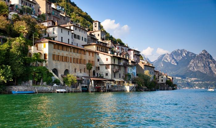 Vinylová Tapeta Lugano jezera ve Švýcarsku - Voda