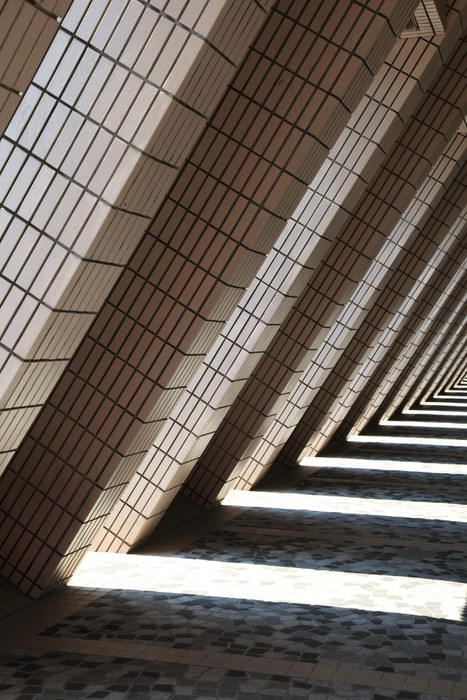 L shaped architecture and shadows of Hong Kong Cultural Centre