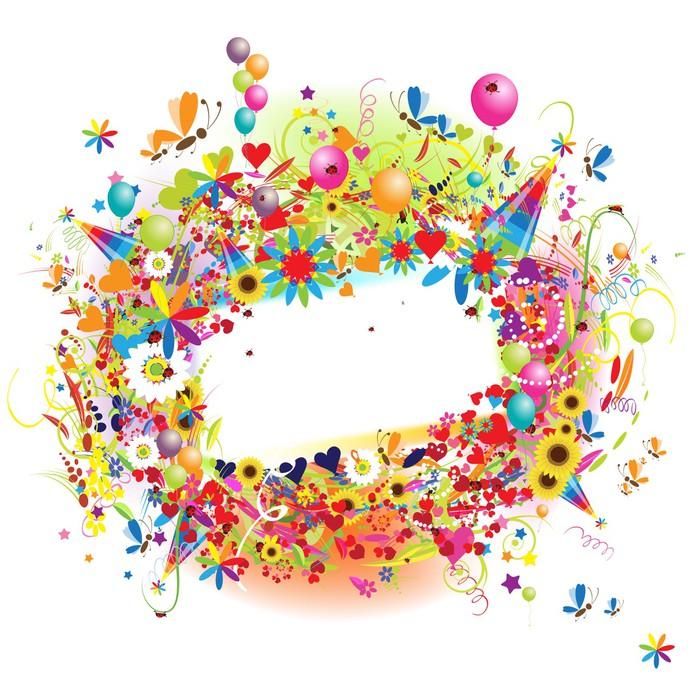 Fototapete Happy holiday, funny Rahmen mit baloons • Pixers® - Wir ...