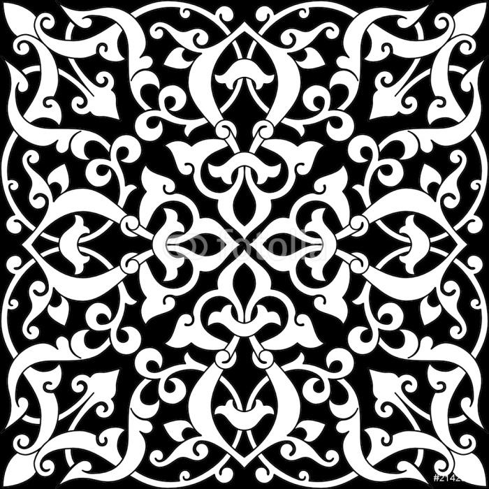 papier peint carrelage arabesque bw pixers nous vivons pour changer. Black Bedroom Furniture Sets. Home Design Ideas