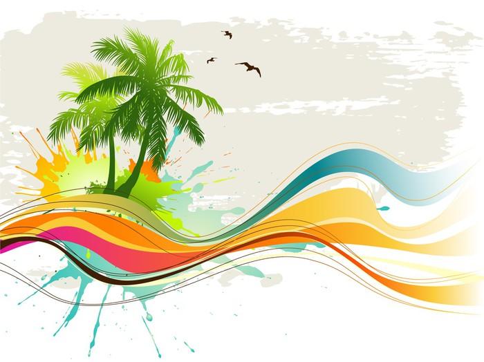 Carta da Parati a Motivi in Vinile Sfondo tropicale - Alberi e foglie