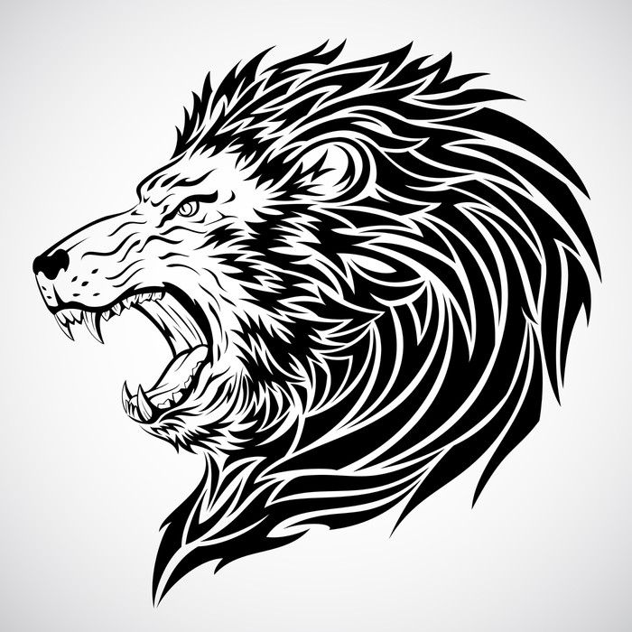 Papier Peint à Motifs Vinyle Lion tattoo - Animaux imaginaires