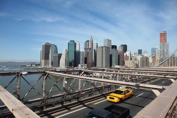 Sticker Pixerstick Brooklyn Bridge Taxi, New York - Villes américaines