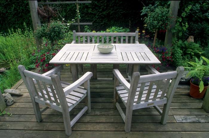 Tisch, Sitzbank Und Stühle Aus Teak Holz Im Garten Vinyl Wall Mural   Home