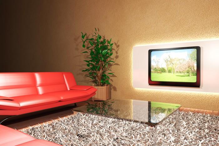Carta da Parati Soggiorno con divano rosso e televisione • Pixers ...
