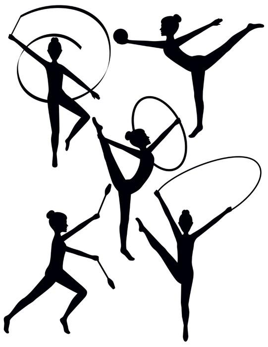 Vinylová Tapeta Rytmický Gymnasti Siluety - Individuální sporty
