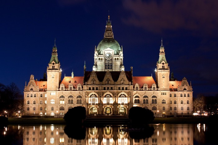 fototapete neues rathaus in hannover bei nacht rathaus. Black Bedroom Furniture Sets. Home Design Ideas