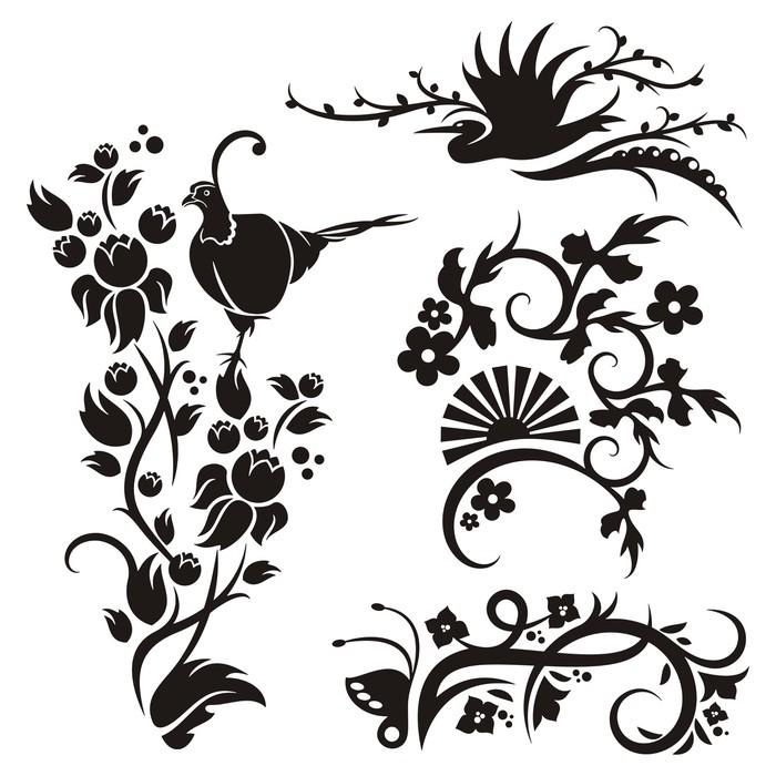 Vinylová Tapeta Čínské květinové vzory - Nálepka na stěny