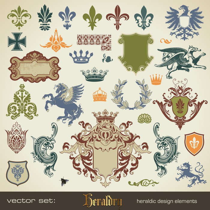 vector set: heraldry - large variety of design elements Sticker - Pixerstick - Signs and Symbols