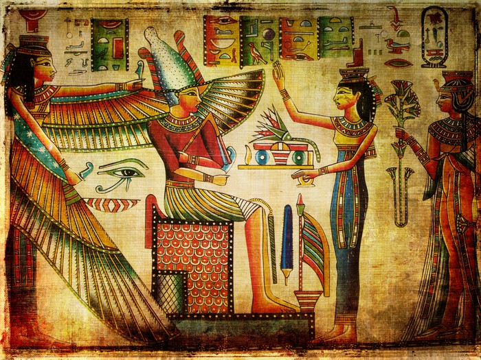 Old egyptian papyrus wall mural pixers we live to change for Egyptian mural wallpaper