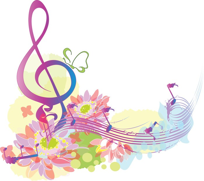 Summer Music With Decorative Treble Clef Sticker Pixers