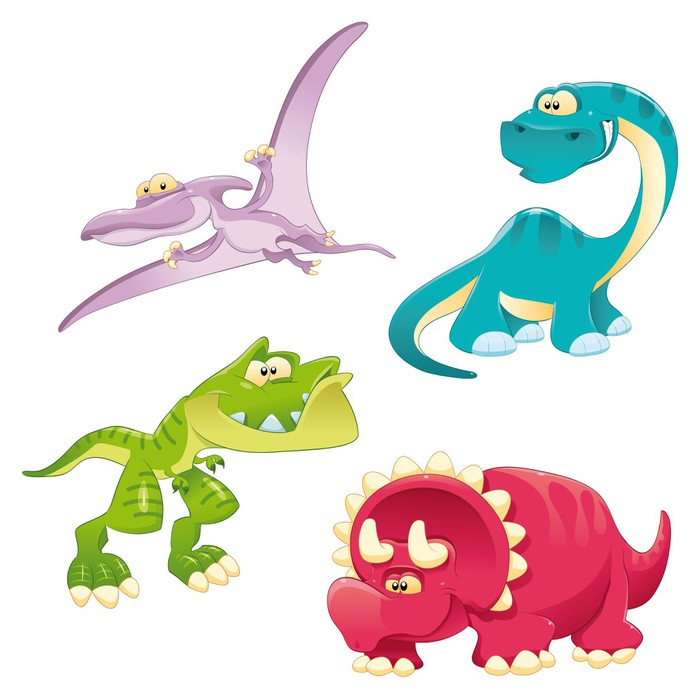Fotomural Los dinosaurios de la Familia. Divertidos dibujos animados ...
