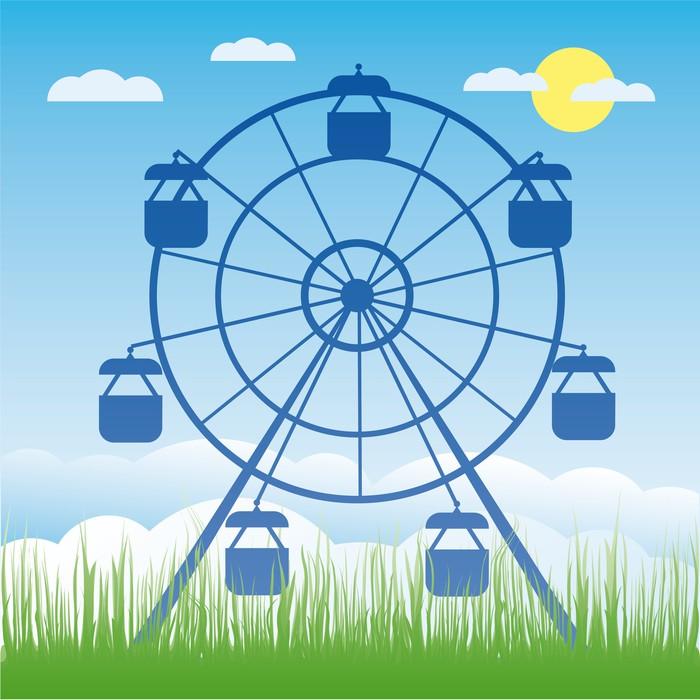 Fotomural Rueda de la fortuna ilustración vectorial. Amusement park ...