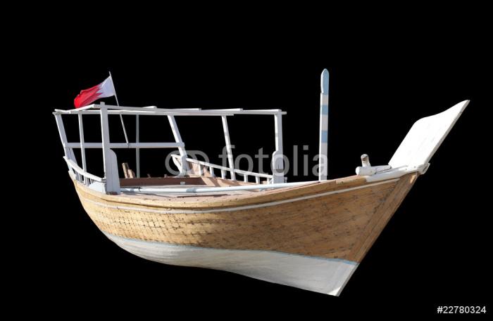 Vinylová Tapeta Typický tradiční arabské rybářský dhou na černém - Těžký průmysl