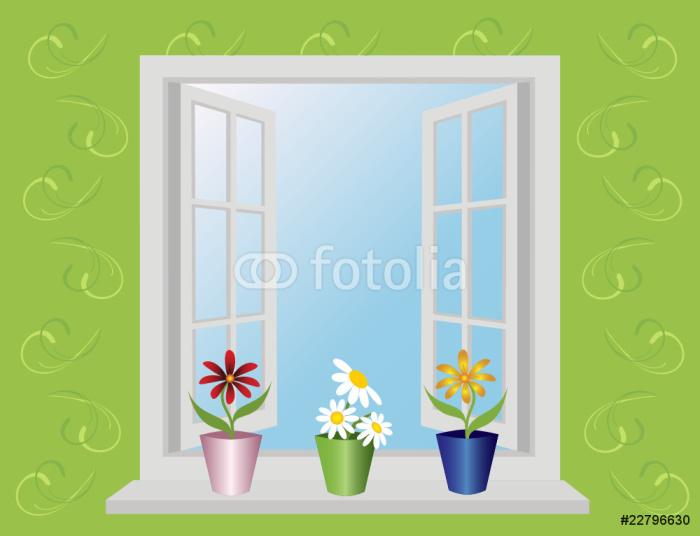 Vinylová Tapeta Otevřené okno s květinami. Vektor. - Témata
