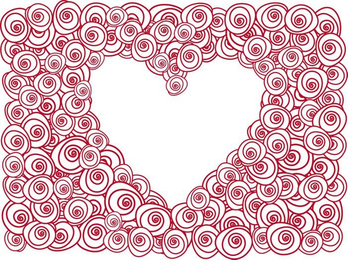 Vinylová Tapeta Srdce s červenou růží - Štěstí