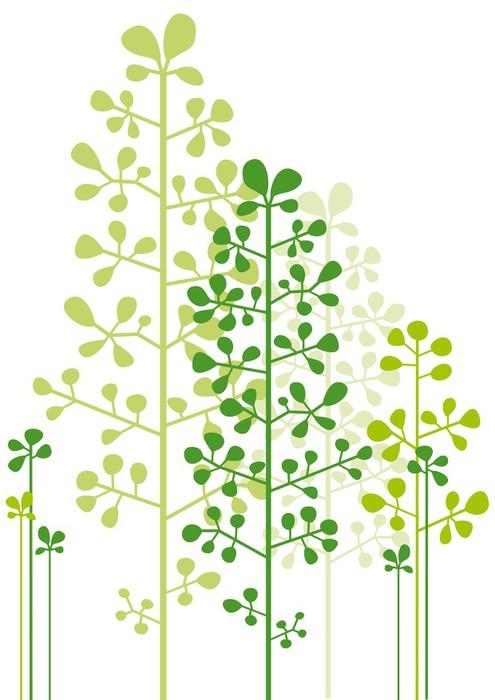 Sticker Pixerstick Abstraites arbres verts - Sticker mural