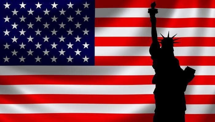 Vinylová Tapeta USA Flagge mit Freiheitsstatue - Amerika