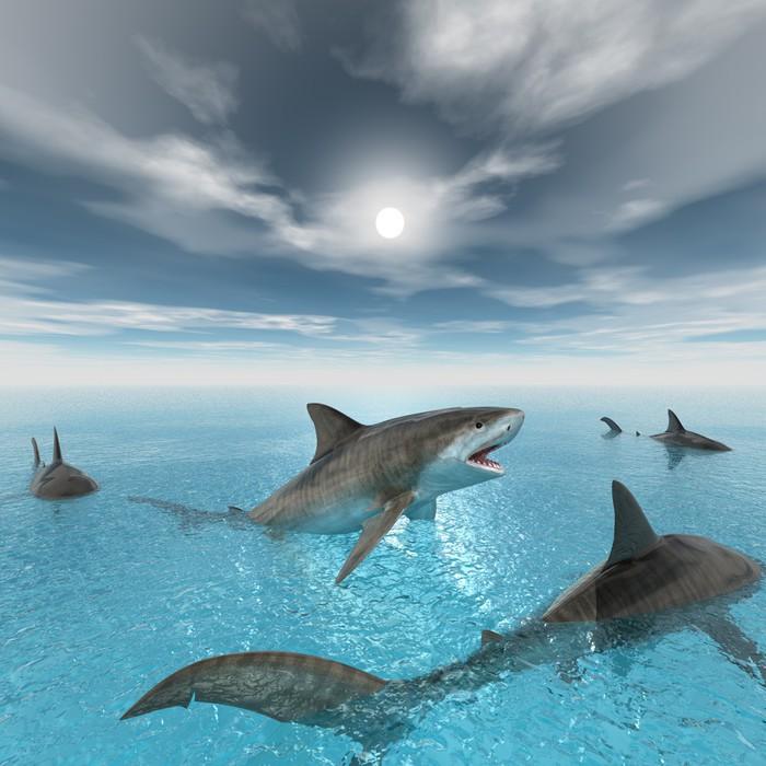 tableau sur toile natation requin tigre pixers nous vivons pour changer. Black Bedroom Furniture Sets. Home Design Ideas