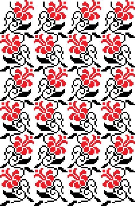 Vinylová Tapeta Floral_flower_crossStitch - Květiny