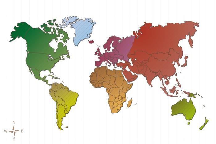 Sticker Pixerstick Carte du Monde et continents, vecteur - Espace