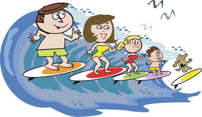 Carta da parati famiglia surf cartone animato pixers