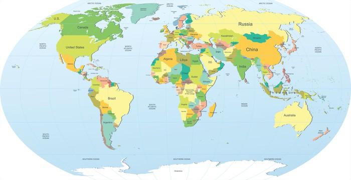 Vinylová Tapeta Politická mapa světa v barvě - Témata