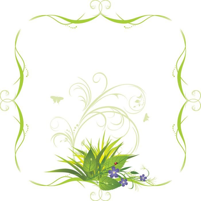 Vinylová Tapeta Kytice s trávou v dekorativním rámu. Vektor - Značky a symboly