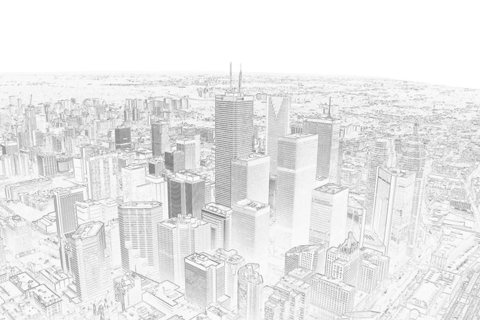 Pencil Drawing Of A Toronto City Skyline Wall Mural