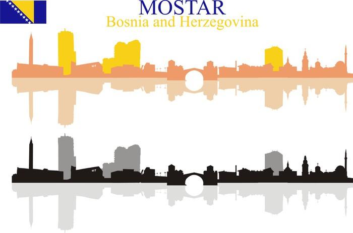 Vinylová Tapeta Mostar panorama silueta s odrazem - Evropa