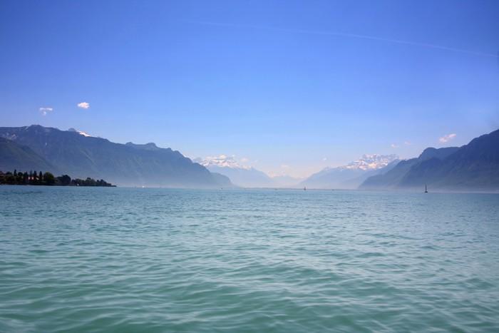 Vinylová Tapeta Horské a jezero Ženeva, Švýcarsko - Roční období