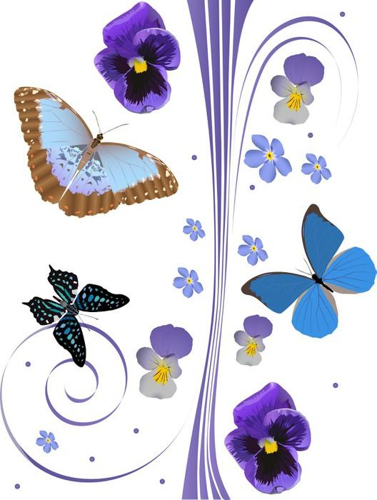 papier peint motifs bleu fleurs et des papillons d. Black Bedroom Furniture Sets. Home Design Ideas