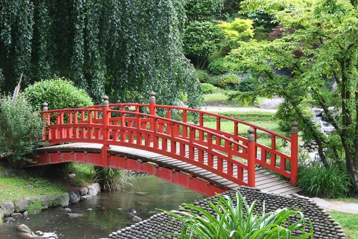 Tableau sur toile pont rouge dans un jardin japonais - Tableau jardin japonais ...