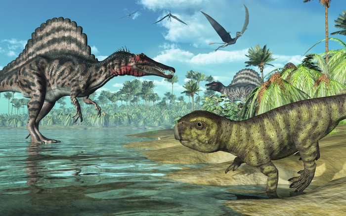 Prehistoric scene with Spinosaurus and Psittacosaurus Dinosaurs Wall