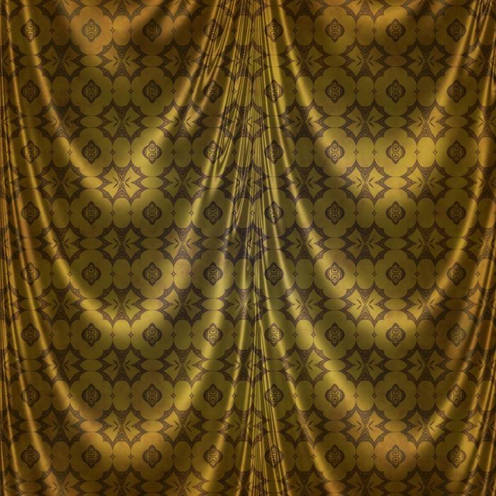 Fotobehang Gouden oosterse klassiek ontwerp op stof gordijnen ...