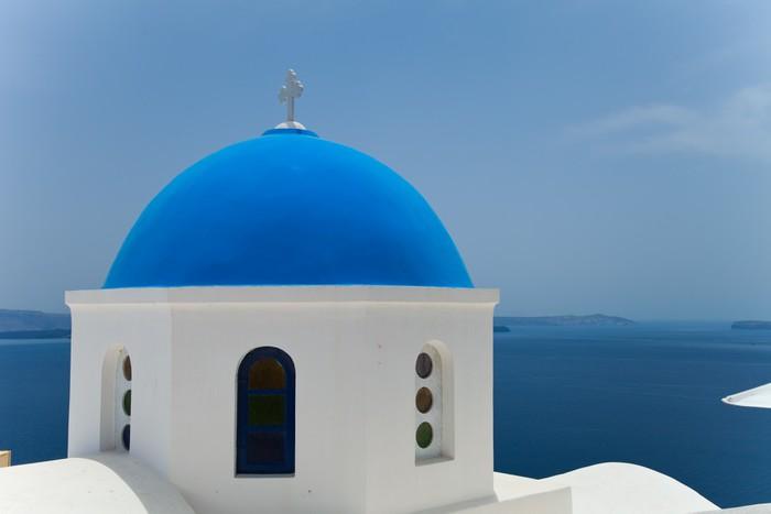 Vinylová Tapeta Santorini krásný sopečný ostrov v Řecku krajinu s blu - Prázdniny