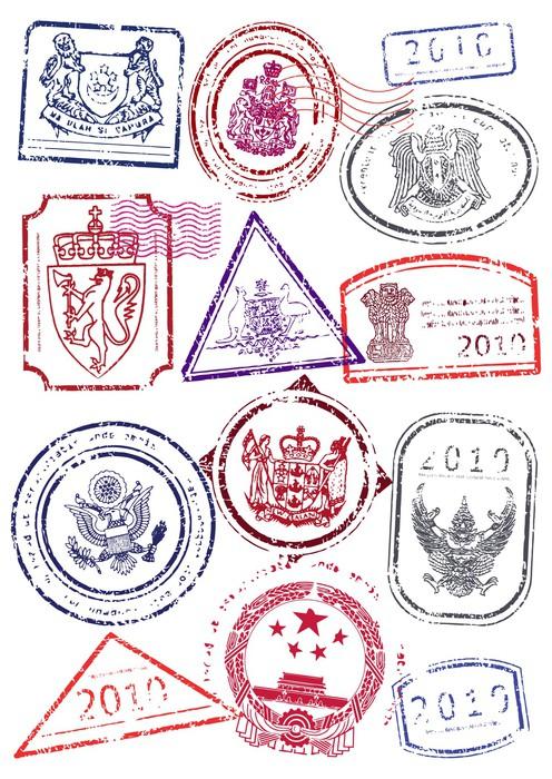 Tableau sur toile vector illustration serie de timbres de for Kitchen cabinets lowes with papiers pour passeport