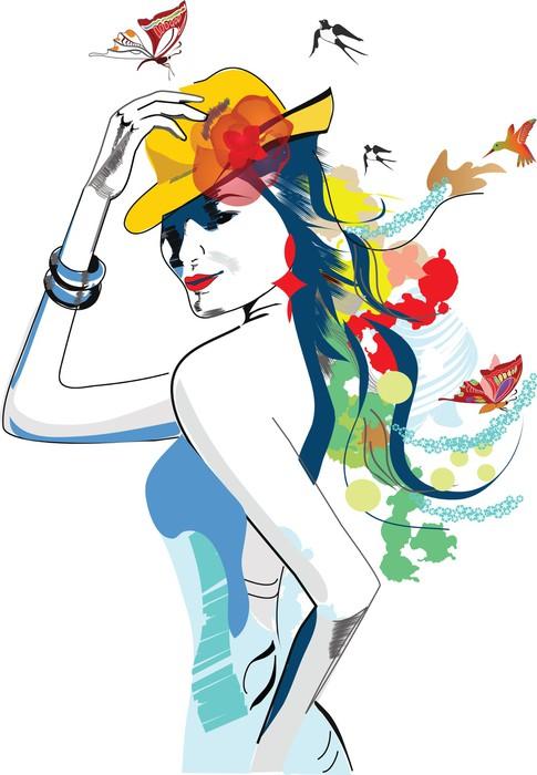 abstract summer girl Sticker - Pixerstick - Fashion