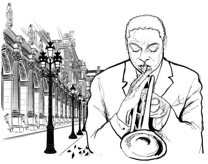 Trumpet player in Paris