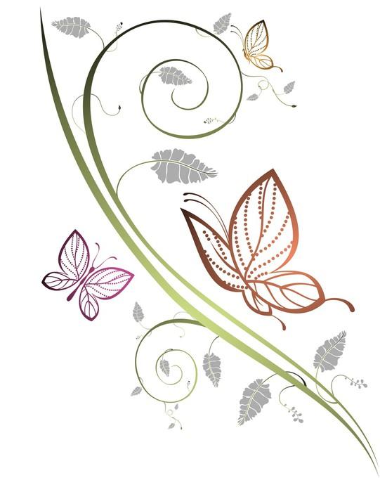 Vinylová Tapeta Květinové pozadí s motýly -
