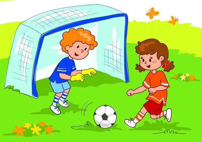 girl playing soccer clip art