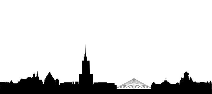 Vinylová Tapeta Varšava Skyline - Nálepka na stěny