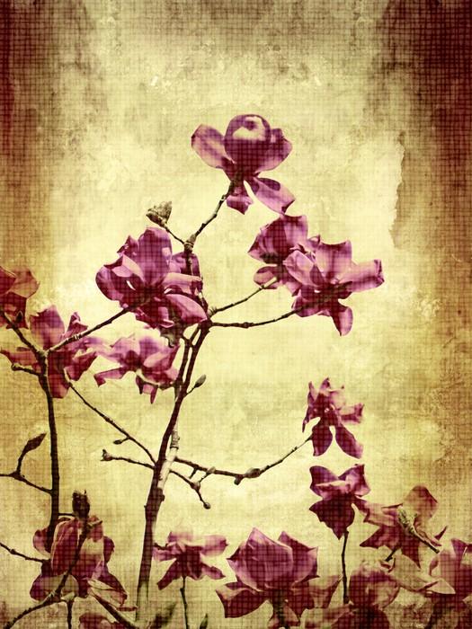 Vinyl Fotobehang Mooie grunge achtergrond met magnolia - Thema's