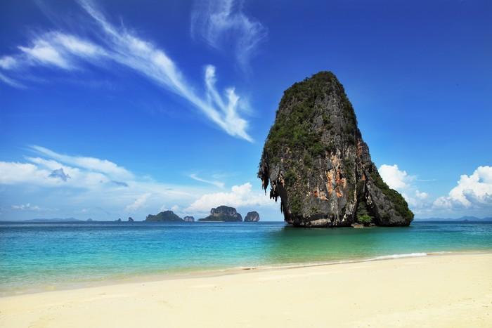 Vinylová Tapeta Exotická krajina v Thajsku, Railay Beach v Krabi. - Prázdniny