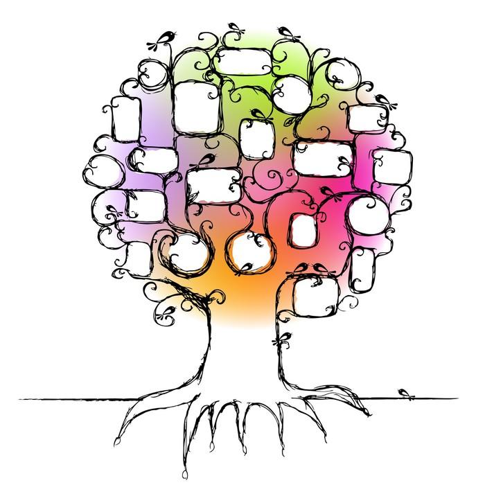 Vinilo para Pared Diseño del árbol de familia, inserta sus fotos en ...
