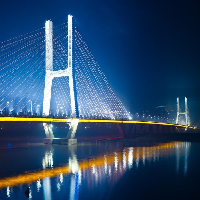 Vinyl-Fototapete Brücke Nacht - Straßenverkehr
