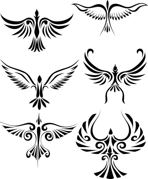 Vinylová Tapeta Bird kmenové tetování - Ptáci