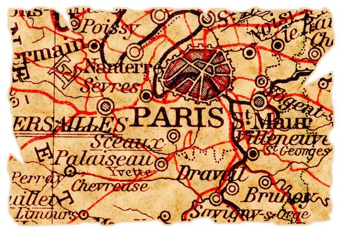Vinylová Tapeta Paříž staré mapy - Témata