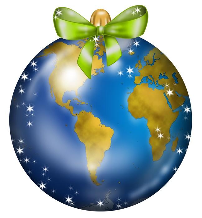 Vinylová Tapeta Palla di Natale decorata con mappamondo USA Afrika - Mezinárodní svátky