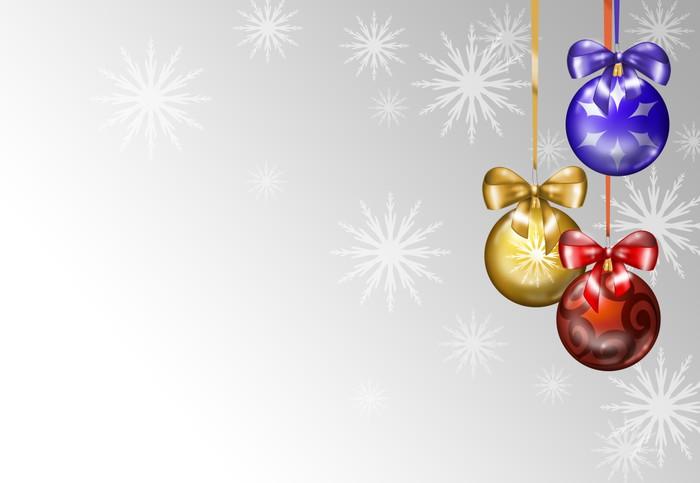 Vinylová fototapeta Pozadí natalizio con palline colorate e neve - Vinylová fototapeta